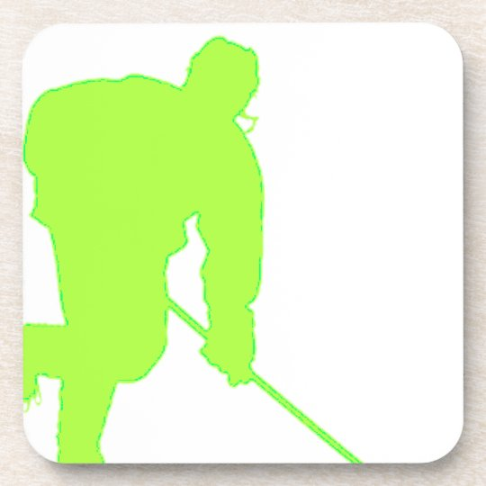 Green Hockey Player Drink Coaster