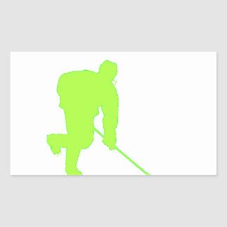 Green Hockey Player Rectangular Sticker