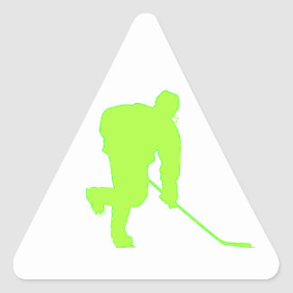 Green Hockey Player Triangle Sticker