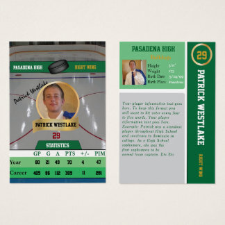 Green Hockey Trading Sports Card w/ Autograph
