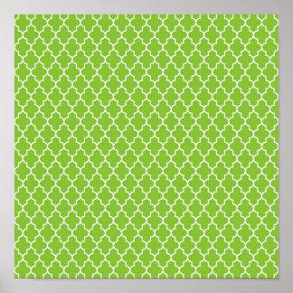Green Holiday Cheer Quatrefoil Pattern Print