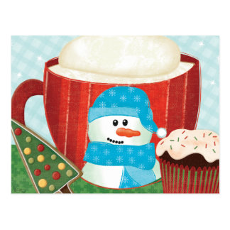 Green Holiday Cup with Hot Cocoa Postcard