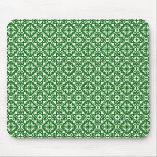 Green Holiday Damask 1 Mouse Pad