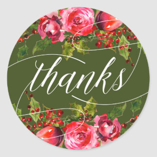 Green Holiday Floral Wedding Favor Thank You Classic Round Sticker