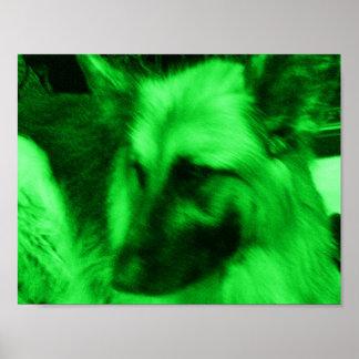 Green Holiday German Shepherd Poster