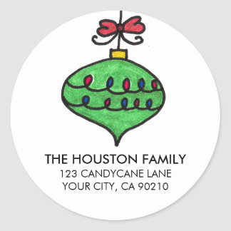 Green Holiday Ornament Classic Round Sticker
