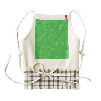 Green Holiday Paisely Zazzle HEART Apron