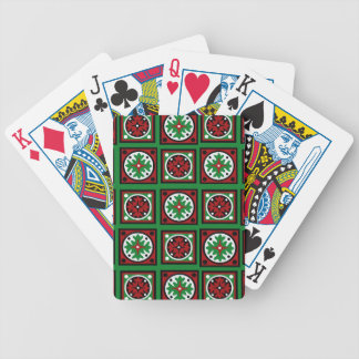 Green Holiday Quilt Bicycle Playing Cards