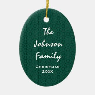 Green Holiday Stars Family Name W1609 Ceramic Ornament