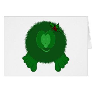 Green Holly Bow Pom Pom Pal Card