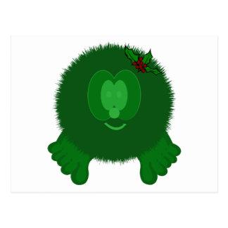 Green Holly Bow Pom Pom Pal Postcard