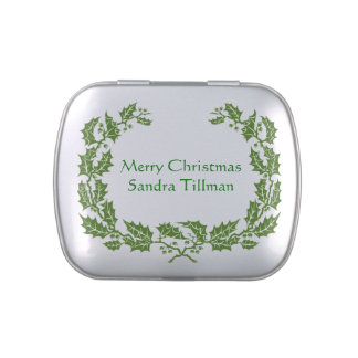 Green Holly Christmas Candy Tin