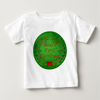 Green Holly Christmas Medallion Baby Monogram Baby T-Shirt