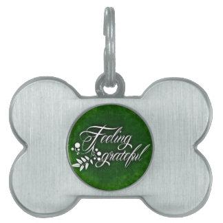GREEN HOLLY FEELING GRATEFUL WINTER PET TAG