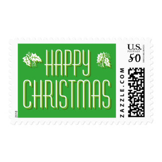 Green Holly Happy Christmas Postage Stamp
