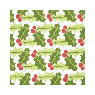 Green Holly Leaves and Red Berries Pattern Canvas Print