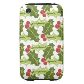 Green Holly Leaves and Red Berries Pattern Tough iPhone 3 Cases