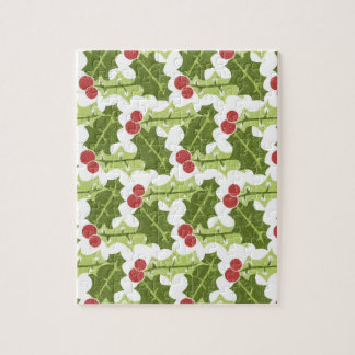 Green Holly Leaves and Red Berries Pattern Puzzles
