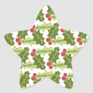 Green Holly Leaves and Red Berries Pattern Star Stickers