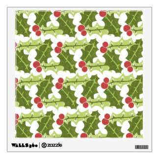 Green Holly Leaves and Red Berries Pattern Wall Decal