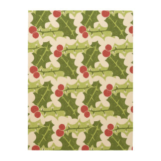 Green Holly Leaves and Red Berries Pattern Wood Wall Decor