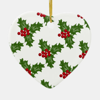 Green Holly Leaves With Red Berries Ceramic Ornament
