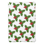 Green Holly Leaves With Red Berries iPad Mini Cover