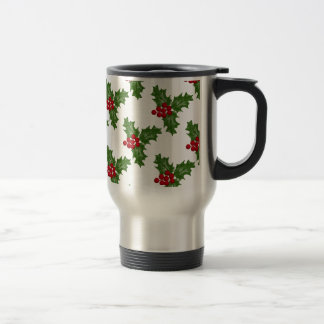 Green Holly Leaves With Red Berries Travel Mug