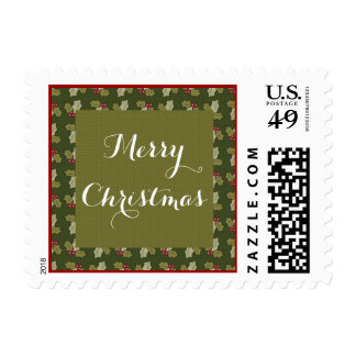 Green Holly Merry Christmas Holiday Postage