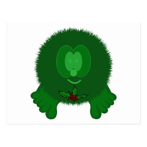 Green Holly Tie Pom Pom Pal Postcard