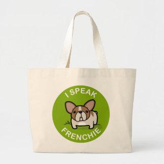 Green Honey Pied I Speak Frenchie Large Tote Bag