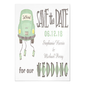 Green Honeymoon Car Save the Date Wedding Magnetic Card