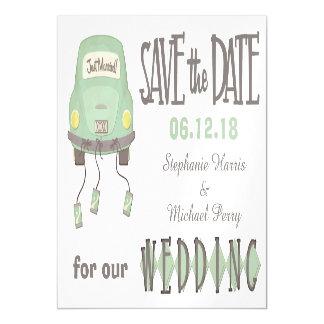 Green Honeymoon Car Save the Date Wedding Magnetic Invitations