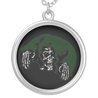 Green Hooded Reaper Round Pendant Necklace