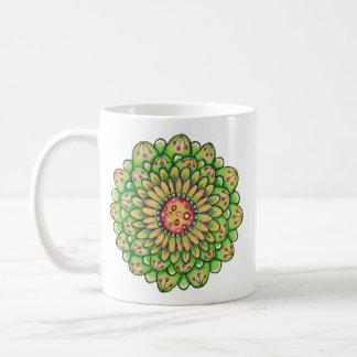Green Hoopla Flower Coffee Mugs