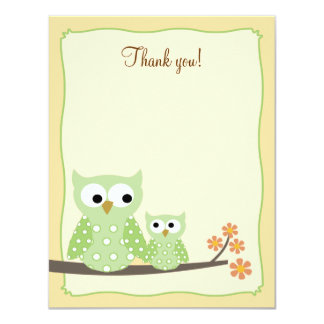 Green Hoot Owls 4x5 Flat Thank you note Card