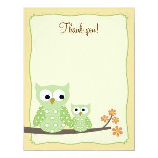 Green Hoot Owls 4x5 Flat Thank you note Card