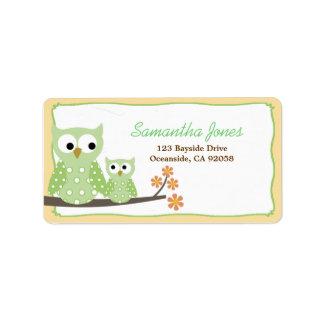 Green Hoot Owls Baby Shower Address Label