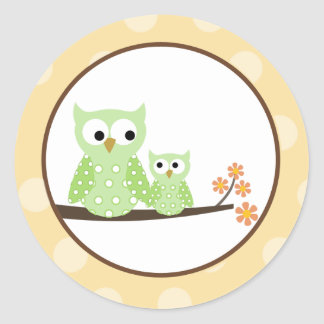 Green Hoot Owls Envelope Seals Classic Round Sticker