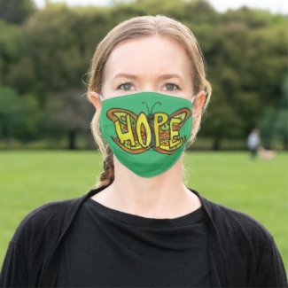 Green Hope Butterfly Art Custom Face Masks