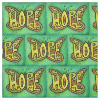 Green Hope Butterfly Inspirational Fabric Material