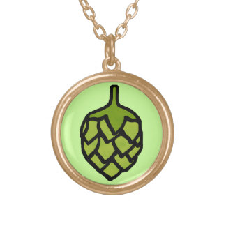 Green Hops Plant Beer Gold Plated Necklace