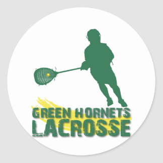 Green Hornets Lacrosse Classic Round Sticker