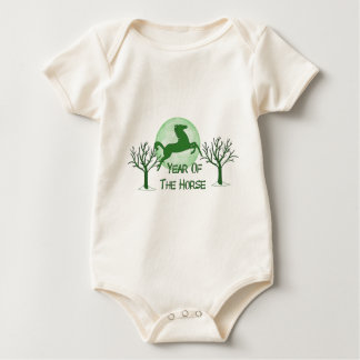 Green Horse And Moon Baby Bodysuit