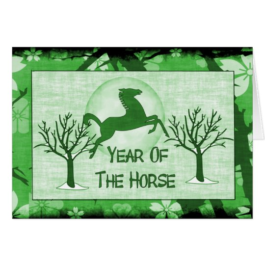 Green Horse and Moon Card