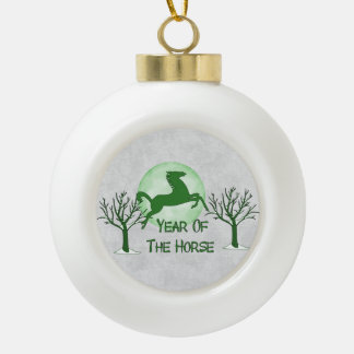 Green Horse And Moon Ceramic Ball Christmas Ornament