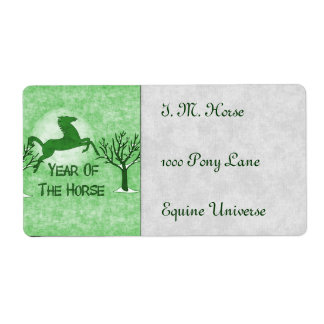 Green Horse and Moon Shipping Label