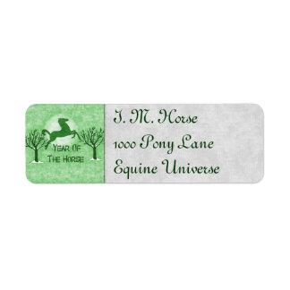 Green Horse and Moon Return Address Label