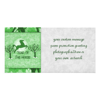 Green Horse and Moon Customized Photo Card