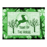 Green Horse and Moon Postcard